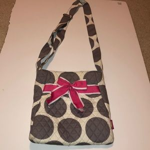 Grey and white polka dot purse with ribbon bow